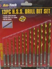 DRILL BITS SET 13 HEX SHANKS TITANIUM EASY CHANGE FIT IN CORDLESS SCREWDRIVER