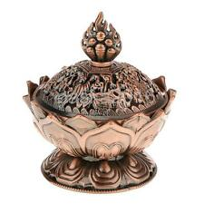 Lotus Backflow Smoke Aroma Incense Burner Holder Censer Cone Decor Copper