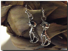 Boucles d'Oreilles Chat Chaton Minet en métal argenté Cadeau Petit Prix earring