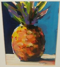 ROBERT BURRIDGE ORIGINAL AQUAMEDIA PINE APPLE PAINTING ON PAPER LISTED ARTIST