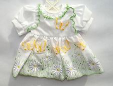 Schildkröt Puppenkleidung, Sommerkleid, weiss, mit Stickerei, für 46 cm Puppen