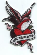 ONE TRUE LOVE heart/swallow EMBROIDERED PATCH **FREE SHIPPING** -illicit ilp05