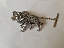 D22 Border Collie Tie Pin and Chain english pewter handmade in sheffield