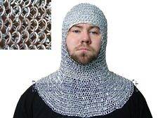 Chain mail 9 mm round riveted with warser coif / hood medieval hood ,