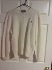 POLO RALPH LAUREN 100% Lambs Wool Ivory Cable Knit Crewneck Sweater XL MEN'S EUC