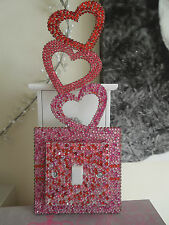 DIAMANTE RHINESTONE CRYSTAL LIGHT SWITCH AND BACKPLATE BLING PINK AND RED HEARTS