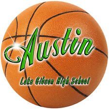 2 Basketball Decals Stickers Personalize Gifts Girls Boys Any Text Any Color 4""