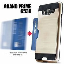 Samsung Galaxy Grand Prime G530 - HARD HYBRID CREDIT CARD SLOT INSERT CASE GOLD