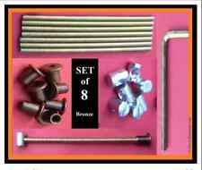 Set 8 Bed bolt bolt connectors/replacements.125mm.M6 rod/sleeve/15mm nut.BRONZE