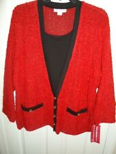 CATHY DANIELS RED BLACK GOLD BOUCLE EMBELLISHED MOCK LAYER CARDIGAN SWEATER XL