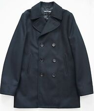 $3680 Authentic TOM FORD Black FLEECE WOOL Double-Breasted PEA COAT 46 US-10