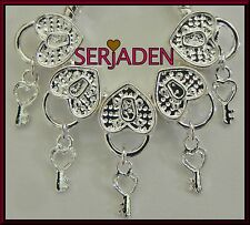 5 Shiny Heart & Key Spacer Charms fits European Jewelry 10 * 23 & 5 mm Hole S002