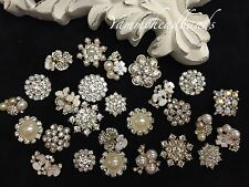 10 Pcs Lot Assorted Rhinestone Pearl Button Embellishment Pearl Crystal Wedding