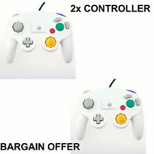 2x WHITE WIRED CLASSIC CONTROLLER JOYPAD GAMEPAD FOR NINTENDO GAMECUBE GC & Wii