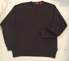 Izod V-Neck 100% Cotton Cable Knit Sweater Brown M Men