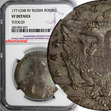 Russia Catherine II Silver 1771 СПБ-ЯЧ Rouble Bitkin-210 Toned NGC VF DETAILS