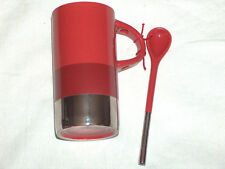 New Starbucks Small Thin 8 oz Verismo Mug Spoon Ceramic Coffee Cup Red Silver