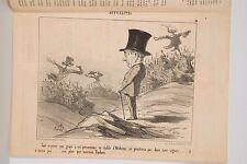 Journal Le Charivari 1853 Litho DAUMIER Maladie de la Vigne Oïdum Caricature 19°