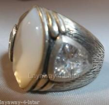"R2808 Silpada Sterling Silver CZ MOP Zirconia Mother of Pearl ""StarGazer"" Ring 8"