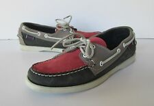 Sebago Docksides Mens Two Tone Gray & Pink Red Leather Deck Loafer Shoes 7 M