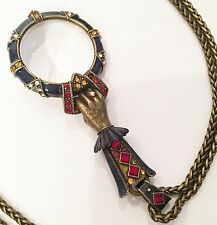*New* Sweet Romance Art Deco Renaissance Enamel Magnifying Spy Glass Necklace