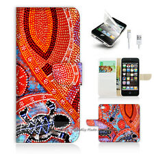 iPhone 5 5S Print Flip Wallet Case Cover! Aboriginal Dot Art Turtle P0357