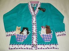 WOMEN'S HSN STORYBOOK SWEATER CATS PLAYING IN A BASKET SZ M  NWT