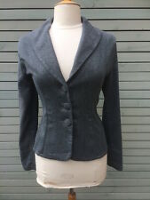 Stylish BNWT Out of Xile Grey Jacket with Velvet Trims, Size 1,UK 10