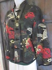 Chico's Asian Inspired 100% Cotton Shirt Jacket Size 3 (14/16)  Floral LARGE XL