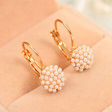 Women New Vogue Faux Pearls Beads Golden Alloy Leverback Eardrop Earrings