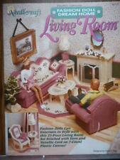 Needlecraft FASHION DOLL Dream Home LIVING ROOM Plastic Canvas Pattern Book 1992