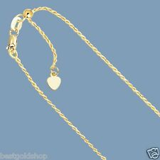 "Up to 22"" Solid Adjustable Rope Chain Necklace Real 10K Yellow Gold 1.0mm"