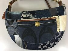 Coach Blue Denim Signature Patchwork Crescent Hobo Shoulder Bag Handbag 10019