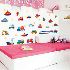 Cartoon Car Train Airplane Kids Room Wall Sticker Removable Nursery Decal Decor