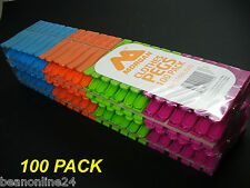 100 Pack x Coloured Plastic Clothes Pegs - 7cm Normal Size