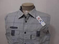 New Ecko Unltd Collar Army Vest XL Jacket Mens Flap Pocket Button Grey Stripped