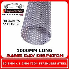 """51mm 2"""" x 40"""" (1000mm) Exhaust Repair Pipe Perforated Tube Stainless Steel T304"""