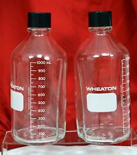 Lot of 2 WHEATON 1000ml Media Storage Bottle with Cap Lab Glass - NOS