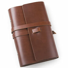Ancicraft Simple Classic Refillable Leather Journal Notebook Red Brown A6 Lined