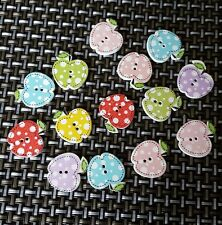 Colourful apple buttons x 10 - new - free postage  - UK seller