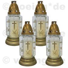 Grablicht Grab-Licht Grabkerze Kerze Friedhofskerze aus Glas weiß im 4er Set