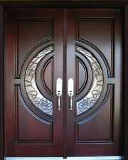 "Mahogany Double Exterior Front Entry Wood Door 580E 36""X80""X2"