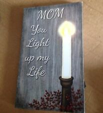 """Lighted Canvas Picture """"MOM YOU LIGHT UP MY LIFE"""" Flickering Led Candle Sign"""