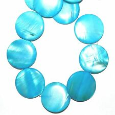 """MP1576L Caribbean Blue 30mm Flat Round Mother of Pearl Gemstone Shell Beads 16"""""""