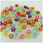 100 MULTI COLOURED STAR SHAPED ACRYLIC BEADS WITH CENTER CRYSTAL LIKE SPACER
