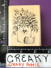 FLOWERS IN A POT RUBBER STAMP DELAFIELD RETIRED IRIS  CARNATION G621