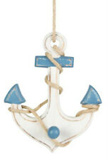 Wooden Blue Hanging Nautical Anchor Decoration, Bathroom Gift, Sass and Belle