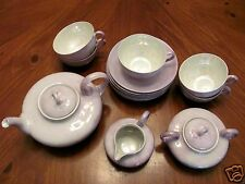 1930'S LIMOGES W.G.&CO.AF DALRYMPLE PURPLE LUSTRES TEAPOT SUGAR CREAMER SET++