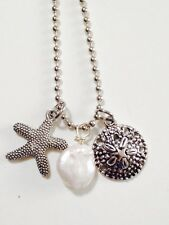 Silver Starfish, Sand Dollar And Freshwater Pearl Necklace. Beach Ocean Coast