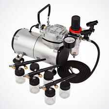 Multi-Purpose 3 Airbrush & Air Compressor Kit Siphon Feed Hobby Tattoo Nail Cake
